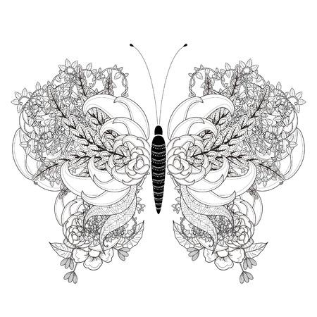 dessin noir et blanc: élégante Coloriage papillon dans un style exquis