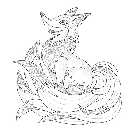 adults: graceful fox coloring page in exquisite style