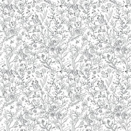 graceful seamless floral pattern coloring page in exquisite style Vectores