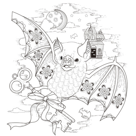 lovely bat coloring page in exquisite style Vectores