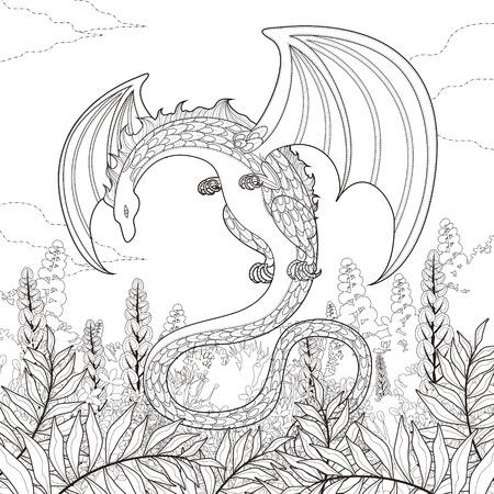 mysterie draak kleurplaat in prachtige stijl Stock Illustratie