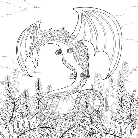 dragon tattoo: mystery dragon coloring page in exquisite style Illustration