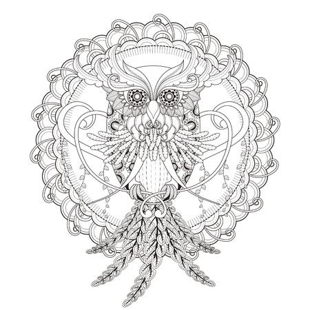 ゴージャスなフクロウの絶妙なスタイルでページを着色  イラスト・ベクター素材