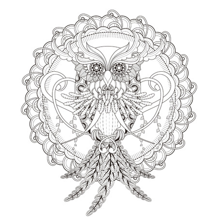 lechuzas: hermosa página para colorear búho en un estilo exquisito