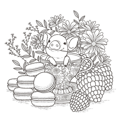 adorable piggy coloring page in exquisite style