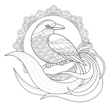 flower sketch: graceful bird coloring page in exquisite style