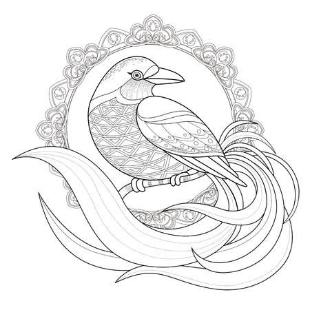 tatouage oiseau: gracieuse Coloriage oiseau dans un style exquis Illustration