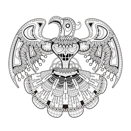 tatouage oiseau: myst�re oiseau Coloriage totem dans un style exquis
