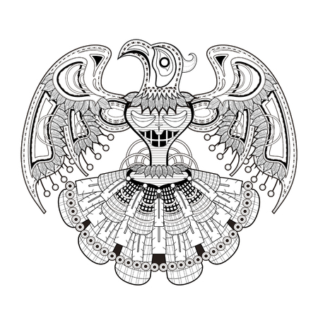 mystery bird totem coloring page in exquisite style