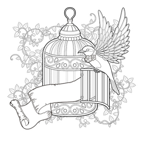 cage birds: elegant bird coloring page in exquisite style
