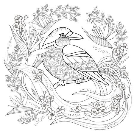 優雅な鳥の絶妙なスタイルでページを着色  イラスト・ベクター素材