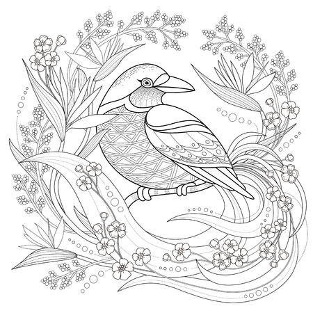 bird feathers: graceful bird coloring page in exquisite style
