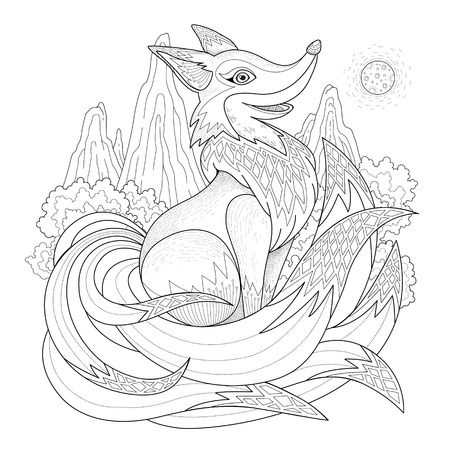 mandala: graceful fox coloring page in exquisite style
