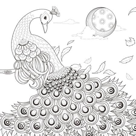 bevallige pauw kleurplaat in prachtige stijl Stock Illustratie