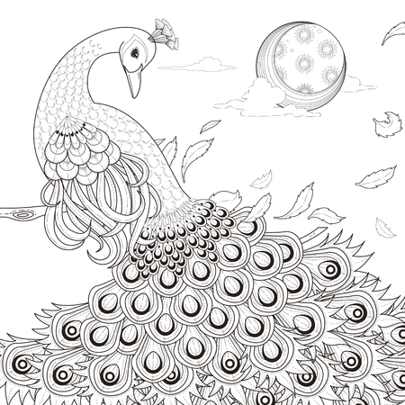 adults: graceful peacock coloring page in exquisite style