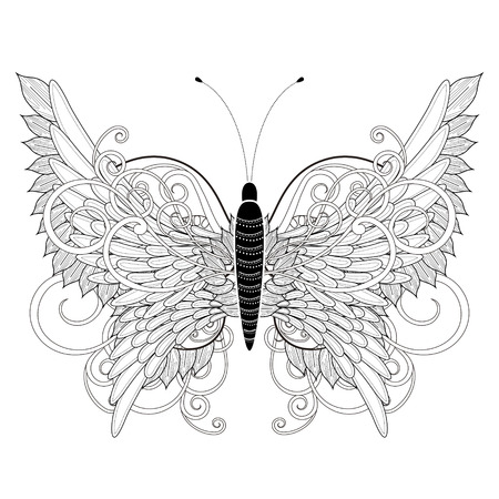 white butterfly: elegant butterfly coloring page in exquisite style Illustration