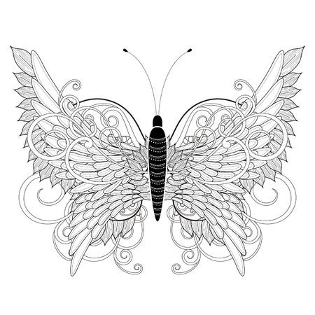 mariposa: Página elegante para colorear mariposa en un estilo exquisito Vectores