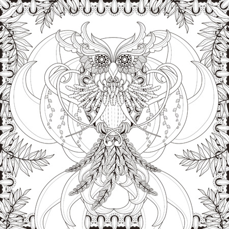 owl isolated: gorgeous owl coloring page in exquisite style