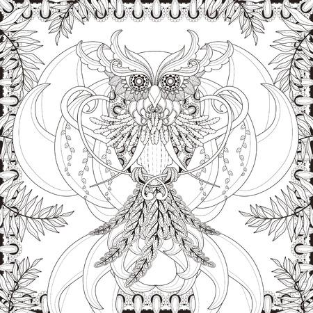 dessin noir et blanc: superbe page à colorier de hibou dans un style exquis