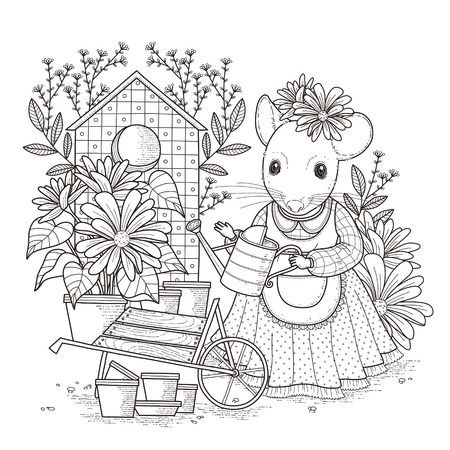 exquisite: adorable mouse coloring page in exquisite style