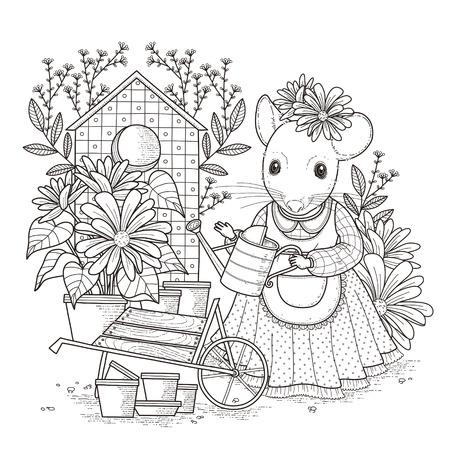 ratones: Colorear ratón adorable en un estilo exquisito