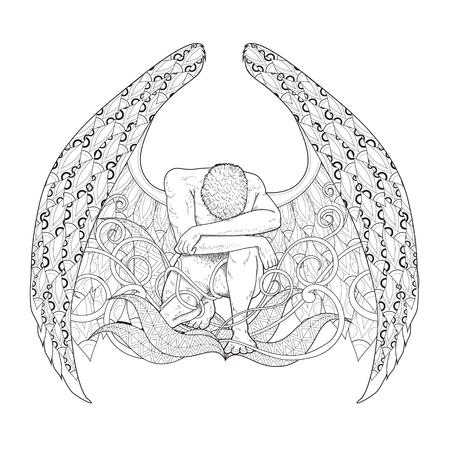 tatouage ange: gracieuse la page homme de colorant dans un style exquis