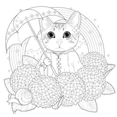 wild hydrangea adorable kitty coloring page in exquisite style
