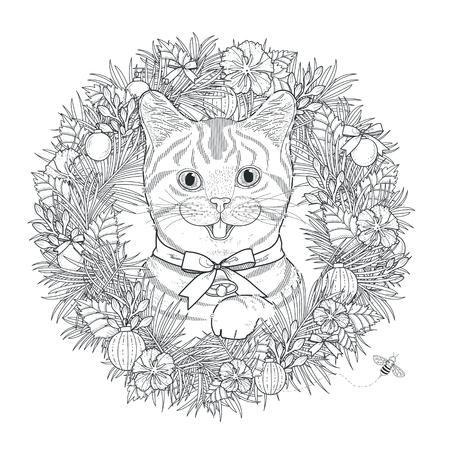 절묘 한 스타일의 사랑스러운 키티 색칠 페이지
