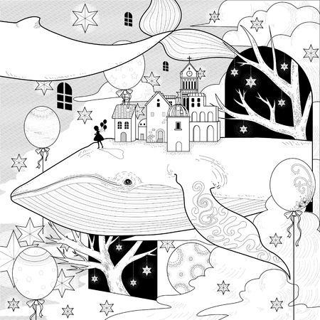 fantastic whale coloring page in exquisite style Vectores