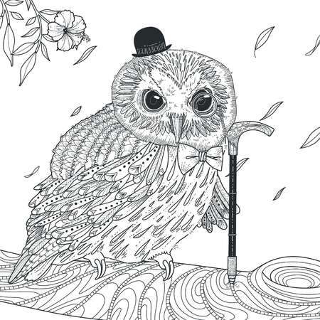 adult tattoo: adorable owl coloring page in exquisite style