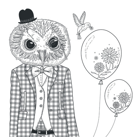 isolated owl: adorable owl coloring page in exquisite style