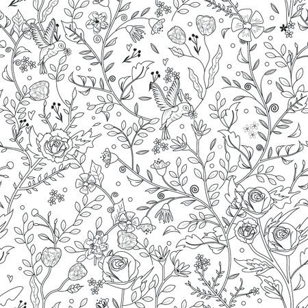 절묘한 스타일의 우아한 원활한 플로랄 패턴의 색칠 페이지