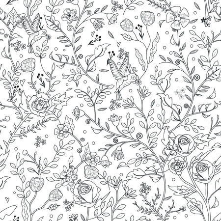 adults: graceful seamless floral pattern coloring page in exquisite style Illustration