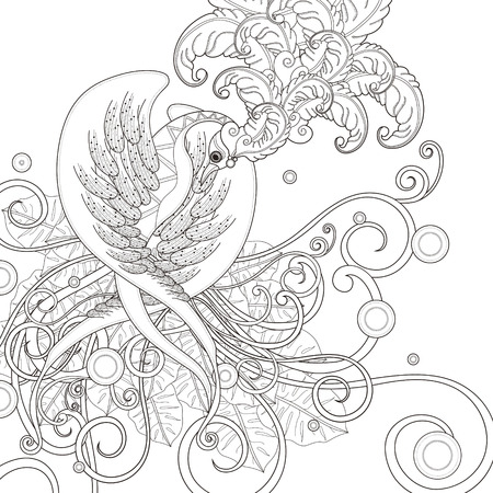 bird pattern: gorgeous bird coloring page in exquisite style Illustration