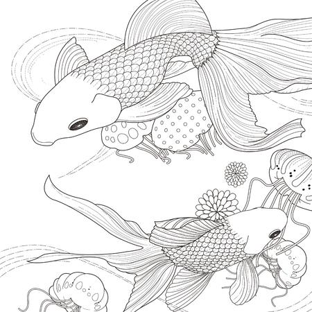 Adorable Coloriage poissons d'or dans un style exquis Banque d'images - 44703019