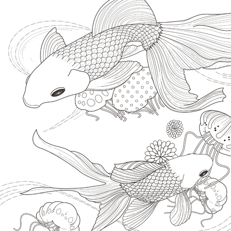 mandala flower: adorable golden fish coloring page in exquisite style