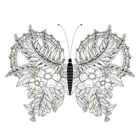 Lgante Coloriage papillon dans un style exquis Banque d'images - 44703021