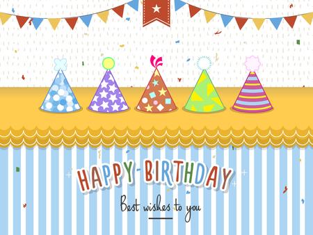 birthday party: lovely birthday party invitation with birthday hat Illustration