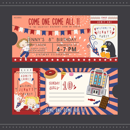 welcome party: lovely birthday party invitation ticket for children
