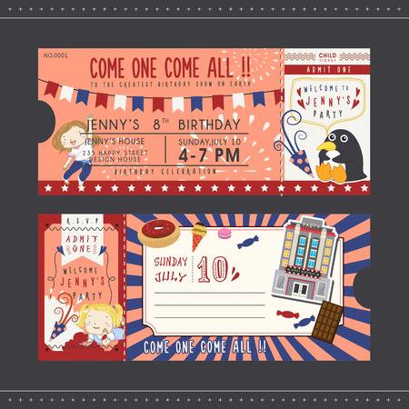 Precioso billete invitación fiesta de cumpleaños para niños Foto de archivo - 45058389