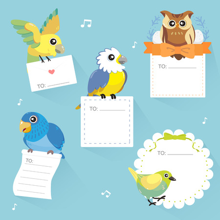 memos: lovable birds memo collection in flat style