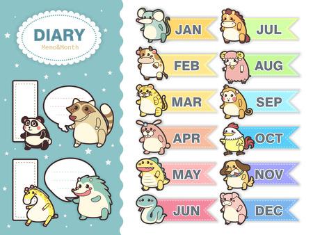 memo pad: adorable animal zodiac memos set with multiple color