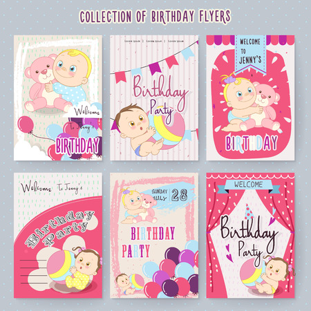 soothing: adorable baby birthday party invitation set in pink Illustration