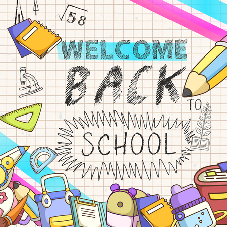 lovable: lovable welcome back to school background with note paper Illustration