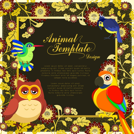 splendid: gorgeous birds template with colorful floral background