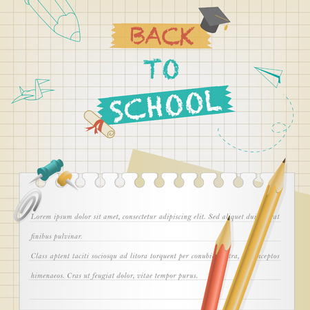 teachers: back to school banner with stationery element