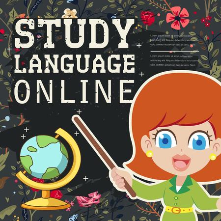 lovable: lovable study language online banner with chalkboard element Illustration