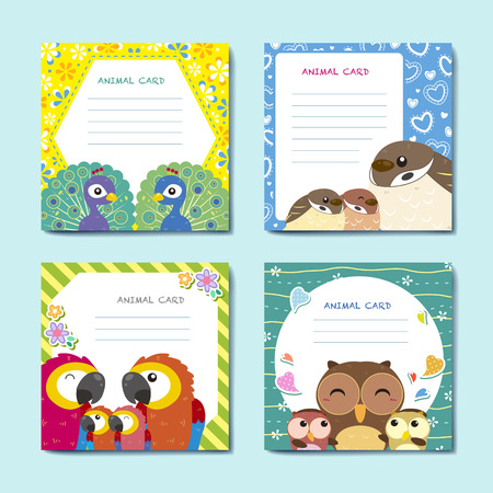 lovely animal cards collection set with birds