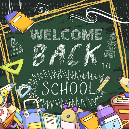 lovable: lovable welcome back to school background with chalkboard Illustration