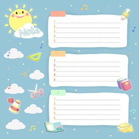 papel de notas: encantadores del plan memos horarios establecidos para los niños